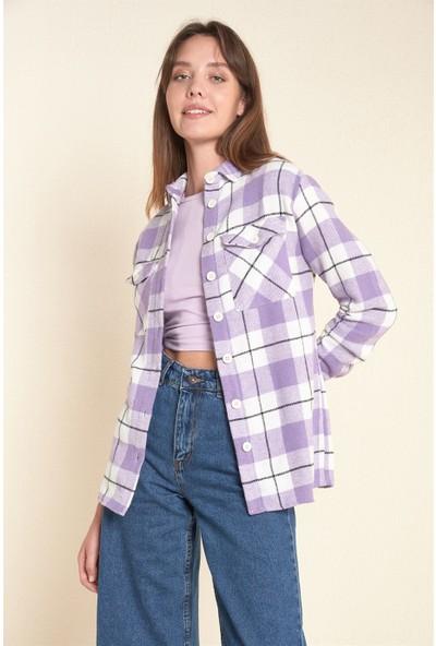 Kadın Lila Kareli Çift Cep Ekose Gömlek