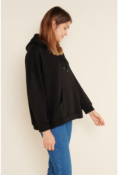 Z Giyim Kadın Siyah Oversize Kapşonlu Sweat