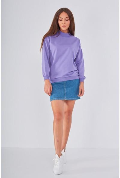 Şi̇mal Yarım Balıkçı Detaylı Sweatshirt Lila M