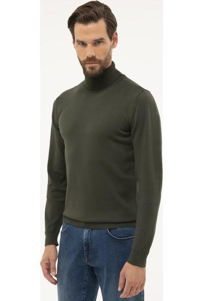 Pierre Cardin Erkek Yeşil Slim Fit Yarım Balıkçı Yaka Basic Triko Kazak 50230785-VR054
