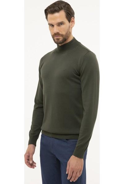 Pierre Cardin Erkek Yeşil Slim Fit Yarım Balıkçı Yaka Basic Triko Kazak 50230807-VR054