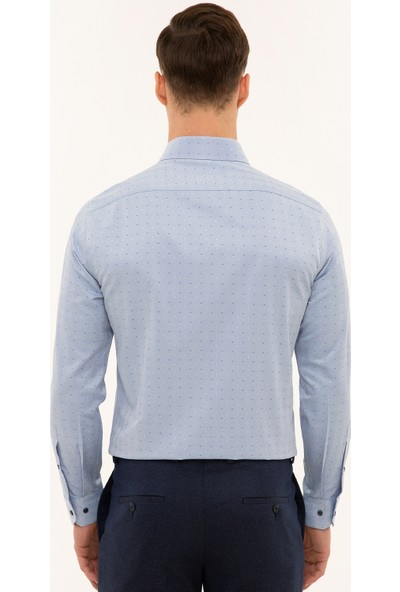 Pierre Cardin Erkek Mavi Slim Fit Gömlek 50227478-VR036