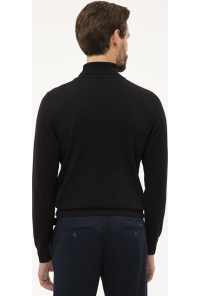 Pierre Cardin Erkek Siyah Slim Fit Yarım Balıkçı Yaka Basic Triko Kazak 50230785-VR046