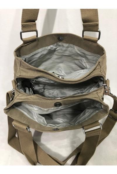 Smart Bags Çok Gözlü Kadın Krinkıl Kumaş Omuz Çantası Ebat 30Cm25Cm Vizon Renk