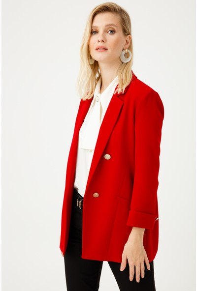 Ekol Kadın Düğmeli Duble Kol Blazer Ceket 05007 Kırmızı