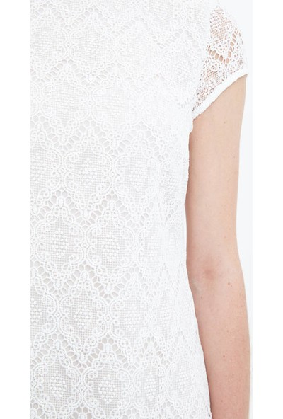 Fever Kadın Pilise Detaylı Güpür Elbise 16144 Ekru