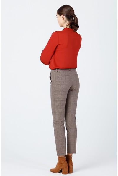 Ekol Kadın Ekoseli Dar Paça Pantolon 03077 Camel
