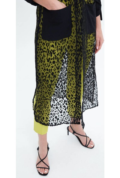 Fever Kadın Organze Detaylı Katlanabilir Kollu Uzun Tunik 14125 Siyah