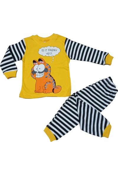 Süpermini Garfield Temalı Sarı Renkli Çizgili 1-3 Yaş Unisex 2 Li Alt Üst Takım