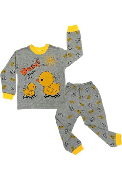 Süpermini Merhaba Ördek Hello Temalı Sarı-Gri 1-2-3 Yaş Unisex Pamuklu 2 Li Alt Üst Çocuk Takım
