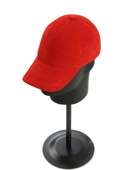 Enzio Gizzi Kırmızı Süet Deri Şapka