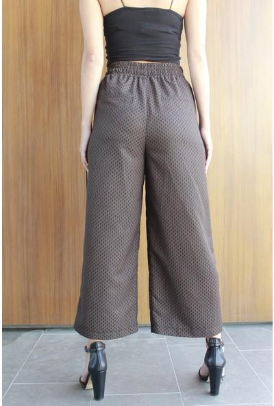 Neo İzmir Beli Bağcıklı Dökümlü Kahve Siyah Pantolon
