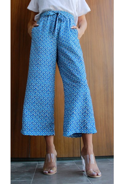 Neo İzmir Beli Bağcıklı Dökümlü Mavi Pantolon