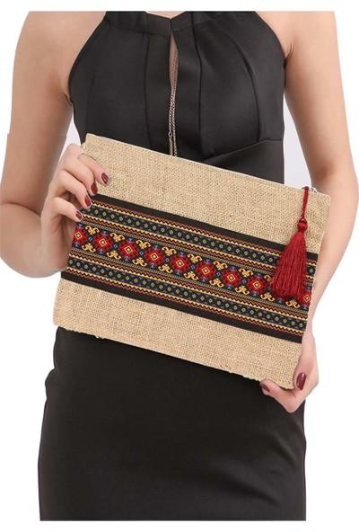Yaratıcı Tasarım Hasır Kadın Portföy Clutch Çanta Kırmızı