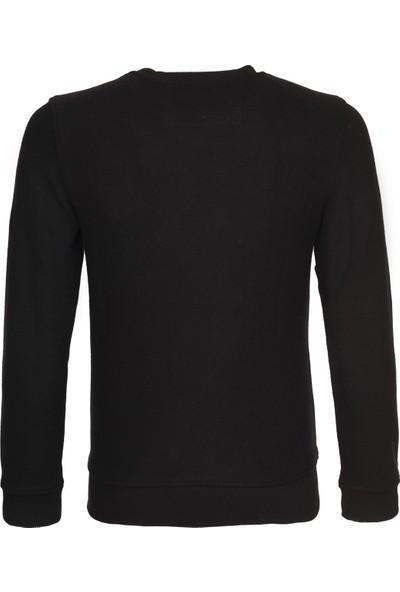 Duca Blanca Erkek Bisiklet Yaka Göğsü Nakışlı Örme Sweatshirt Siyah DBK2160