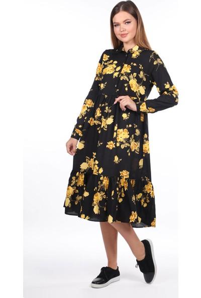 Markapia Woman Çiçek Desenli Midi Elbise