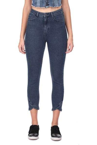 Blue White Skinny Paça Detaylı Kadın Jean Pantolon