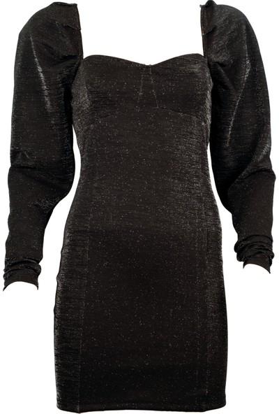 Ergü Kadın Siyah Jakarlı Balon Kol Uzun Kollu Elbise