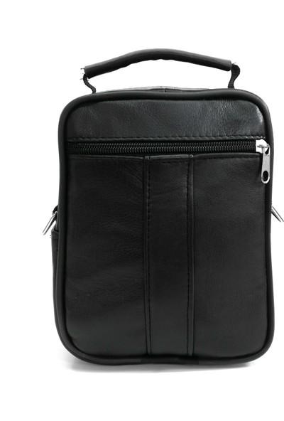Cascades Leather Hakiki Deri Siyah Renk Omuz Askılı Erkek El Çantası