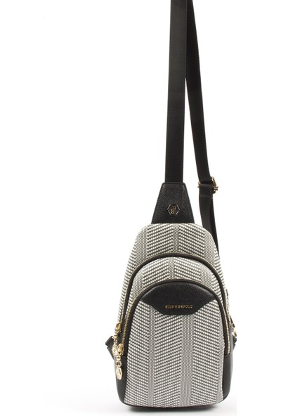 Silver & Polo Kadın Bel Çantası 959-34657 Freebag M132 Siyah Beyaz-Mat Siyah
