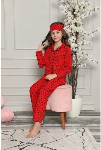 Arcankumaş Kalpli ve Göz Bandı Hediyeli Kız Pijama Takımı