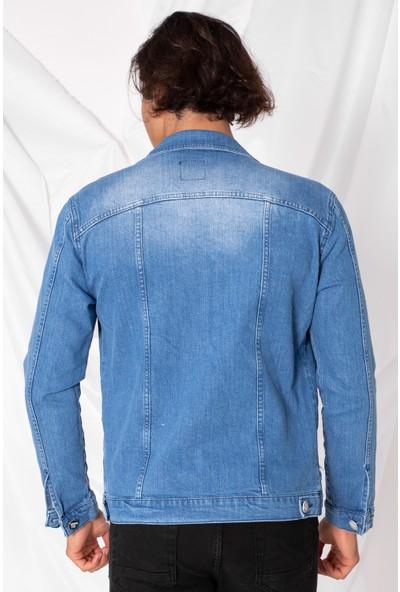 Zafoni Erkek Slim Baskılı Mavi Kot Ceket