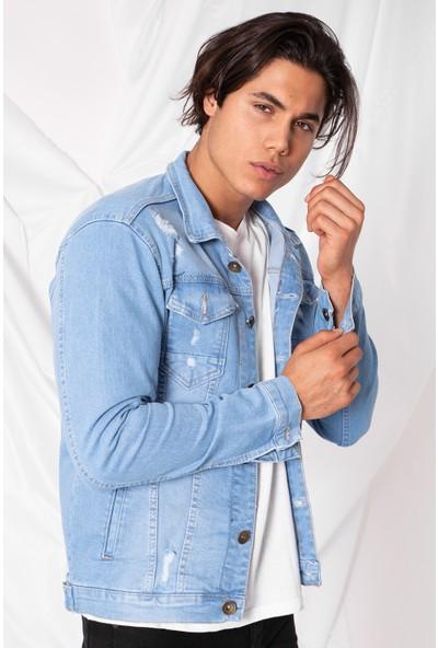 Zafoni Erkek Slim Lazer Yırtıklı Açık Mavi Kot Ceket