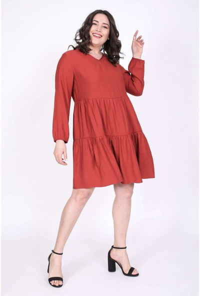 Myline V Yaka Katlı Elbise