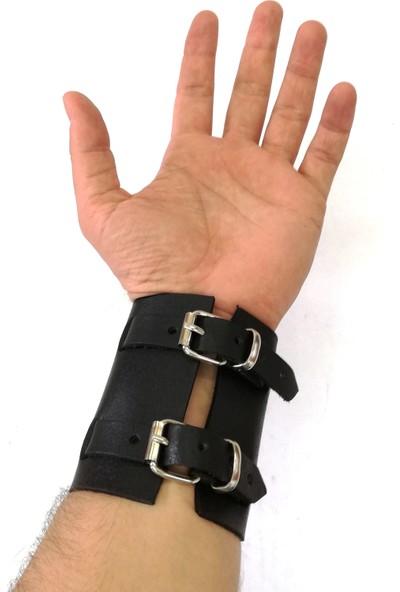 Cascades Leather Osmanlı Arma Bez Cüzdan Yeniçeri Deri Bileklik 2'li Set