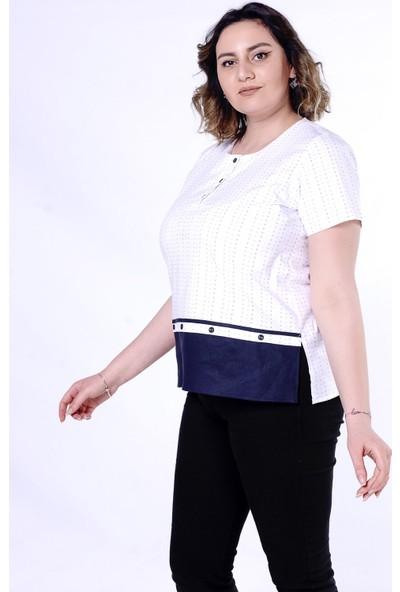 Ultimod Ekru-Lacivert Düğme Detaylı Büyük Beden Kadın Bluz ULT3019