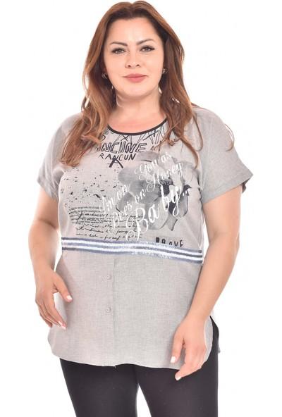 Ultimod Gri Baskılı Şerit Detaylı Büyük Beden Kadın Bluz ULT3167