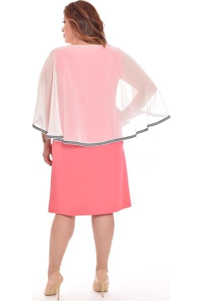 Ultimod Nar Çiçeği Üstü Şifonlu Büyük Beden Kadın Elbise ULT3119