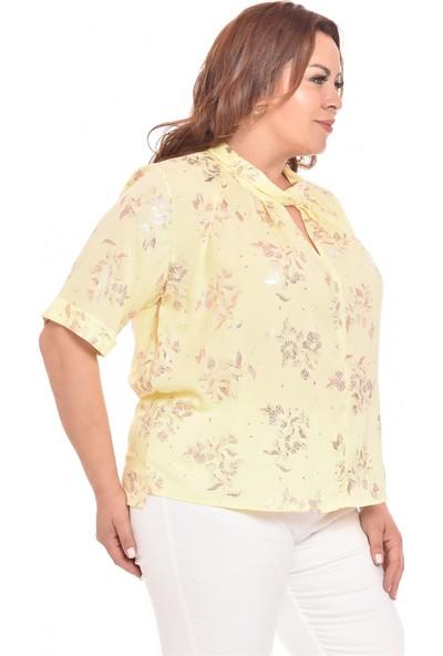 Ultimod Sarı Desenli Baskılı Büyük Beden Kadın Bluz ULT20306