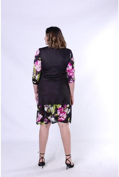 Ultimod Siyah Desenli Büyük Beden Kadın Elbise ULT5297