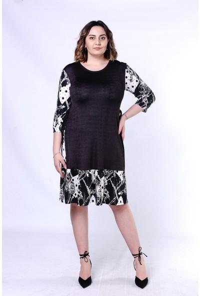 Ultimod Siyah-Beyaz Desenli Büyük Beden Kadın Elbise ULT5297