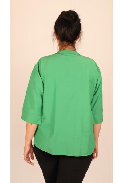 Ultimod Yeşil Önü Nakışlı Büyük Beden Kadın Gömlek ULT5107