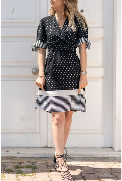 Xhan Siyah Puantiyeli Kruvaze Elbise 0YXK6-43470-02
