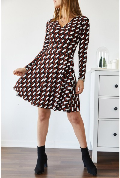 Xhan Desenli Kruvaze Elbise 9KXK6-43294-02