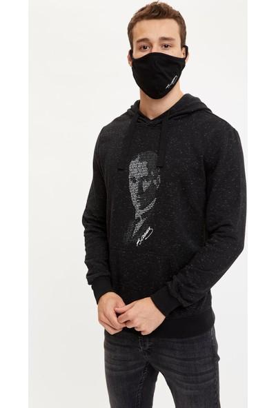 DeFacto Atatürk İmzalı Kapüşonlu Sweatshirt ve Maske T0362AZ20WN