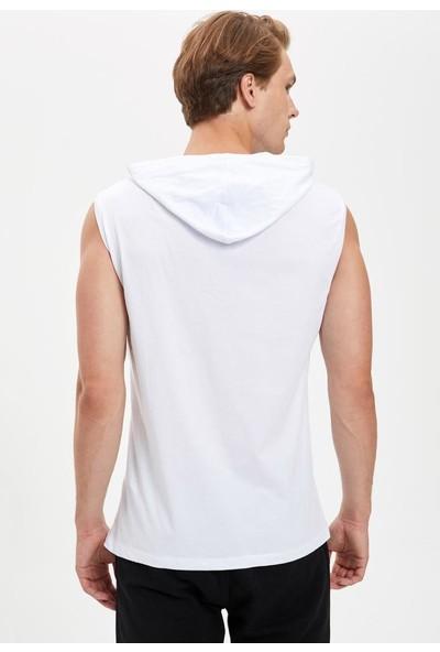 DeFacto Baskılı Kapüşonlu Slim Fit Kolsuz Pamuklu Sweatshirt S6002AZ20SM