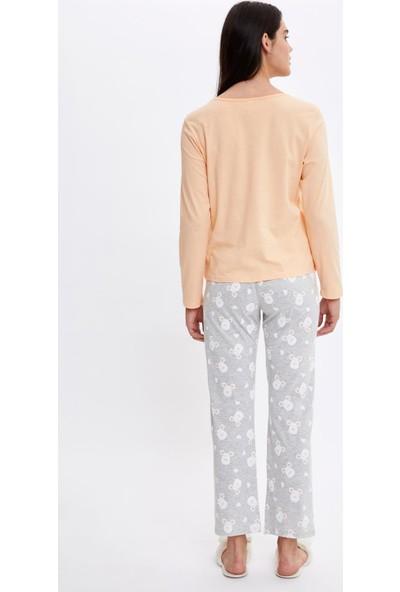 Defacto Kadın Fare Baskılı Uzun Kollu Pijama Takımı