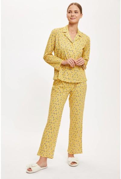 Defacto Kadın Çiçekli Gömlek Tasarımlı Uzun Kollu Pijama Takımı
