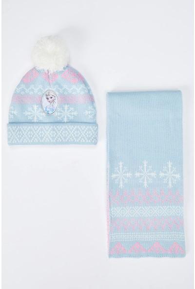 Defacto Kız Çocuk Frozen Lisanslı Triko Bere Atkı Eldiven Set