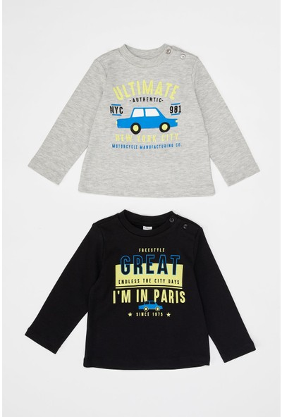 Defacto Erkek Çocuk Uzun Kol Baskılı 2'Li T-Shirt