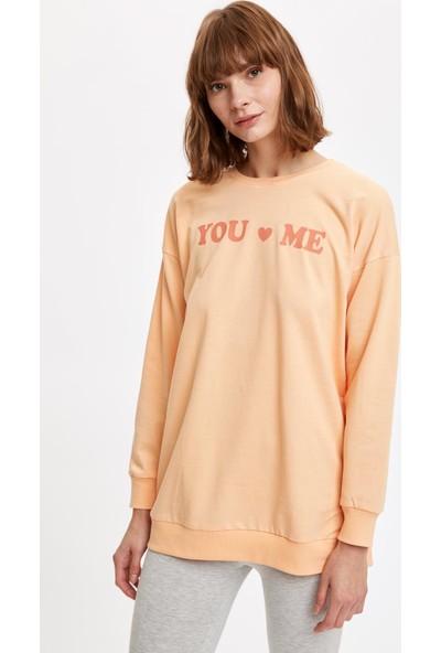 Defacto Kadın Yazı Baskılı Sweatshirt Ve Tayt Takım