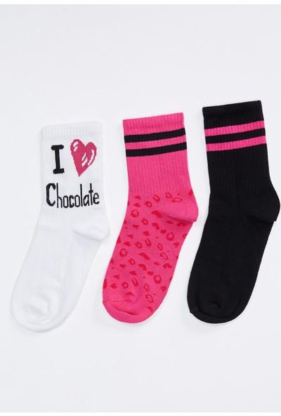 Defacto Kadın Desenli Soket Çorap 3'Lü