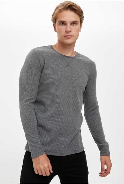 Defacto Erkek Uzun Kollu Slim Fit Bisiklet Yaka Basic T-Shirt
