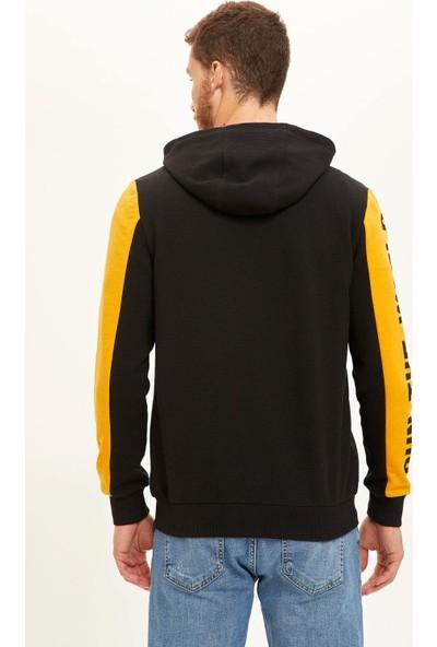 DeFacto Baskılı Slim Fit Kapüşolu Fermuarlı Sweatshirt R4437AZ20AU