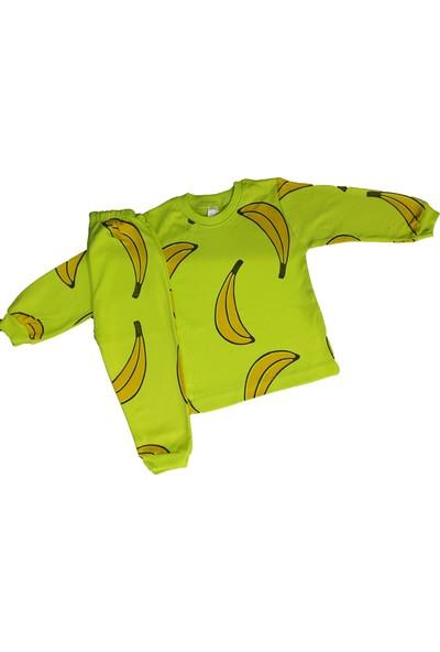 Süper Mini Süpermini Muz Baskılı Yeşil Pijama Takımı