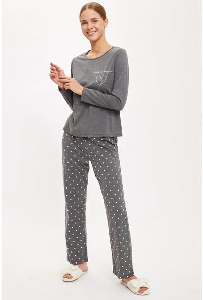 Defacto Kadın Altı Desenli Üstü Minimal Baskılı Pijama Takımı
